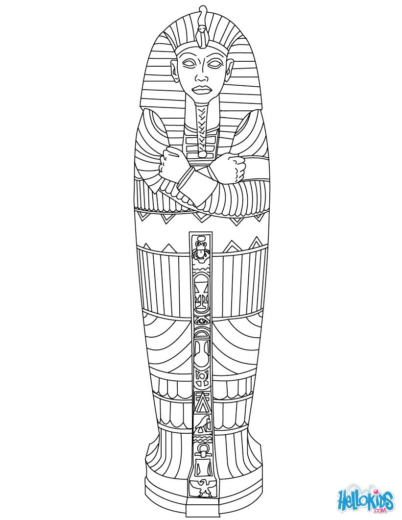 Egyptian Sarcophagus Coloring Page Ancient Egypt Art Ancient
