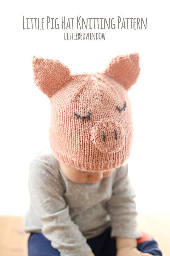 Little Pig Hat Baby KNITTING PATTERN - knit pig hat pattern for ...