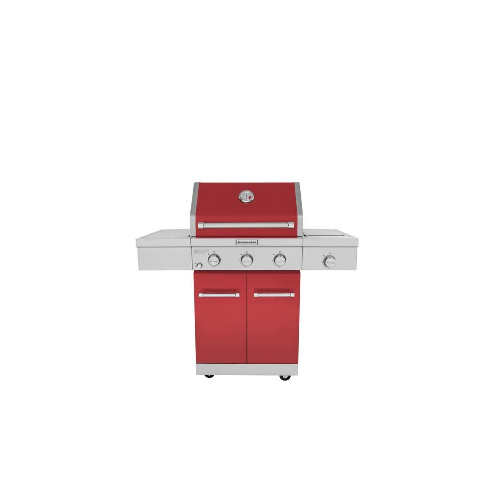 Kitchenaid 3burner propane gas grill in red with ceramic
