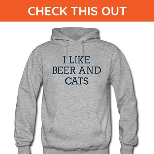 WENL Men's I Like Beer and Cats Hoodie - Food and drink shirts (*Amazon Partner-Link)