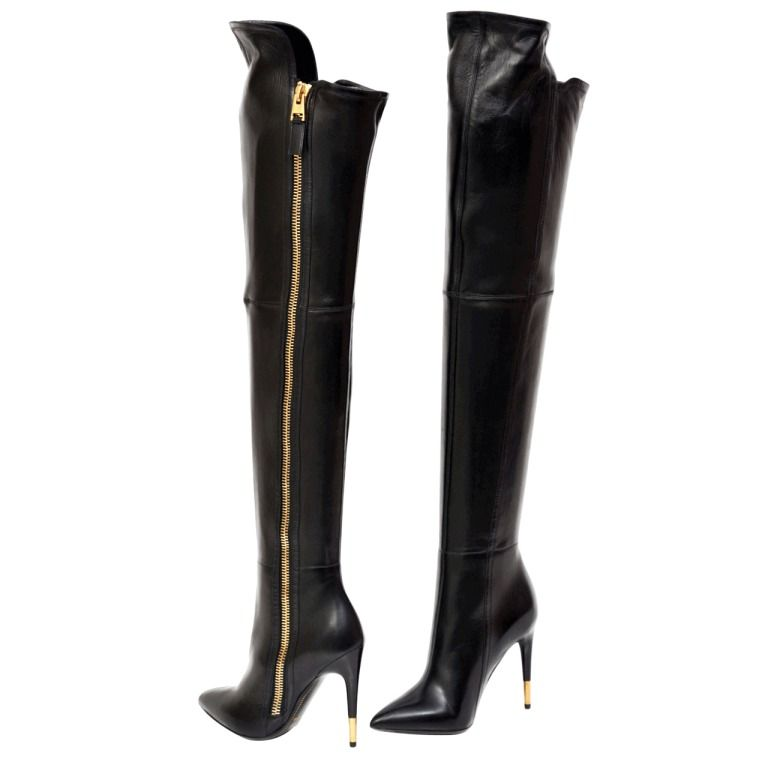 New TOM FORD BLACK LEATHER OVER THE KNEE BOOTS | Best Knee boot ...
