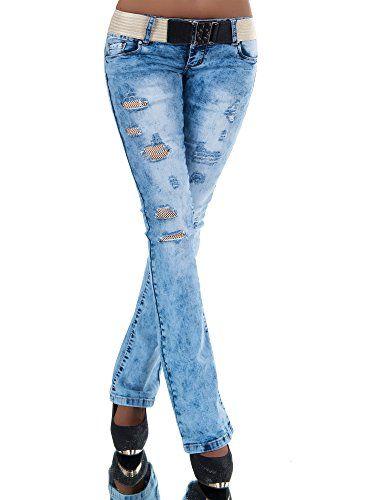 Slim Fit Stretch Jeans Hüftjeans mit Destroyed-Effekten in blue washed