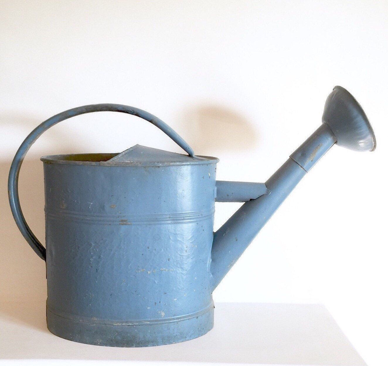 Antique French Watering Can - Vintage Rustic Painted Zinc Watering Can - French Blue Watering Can - French Garden by LaVieEnPastis on Etsy https://www.etsy.com/listing/257742824/antique-french-watering-can-vintage