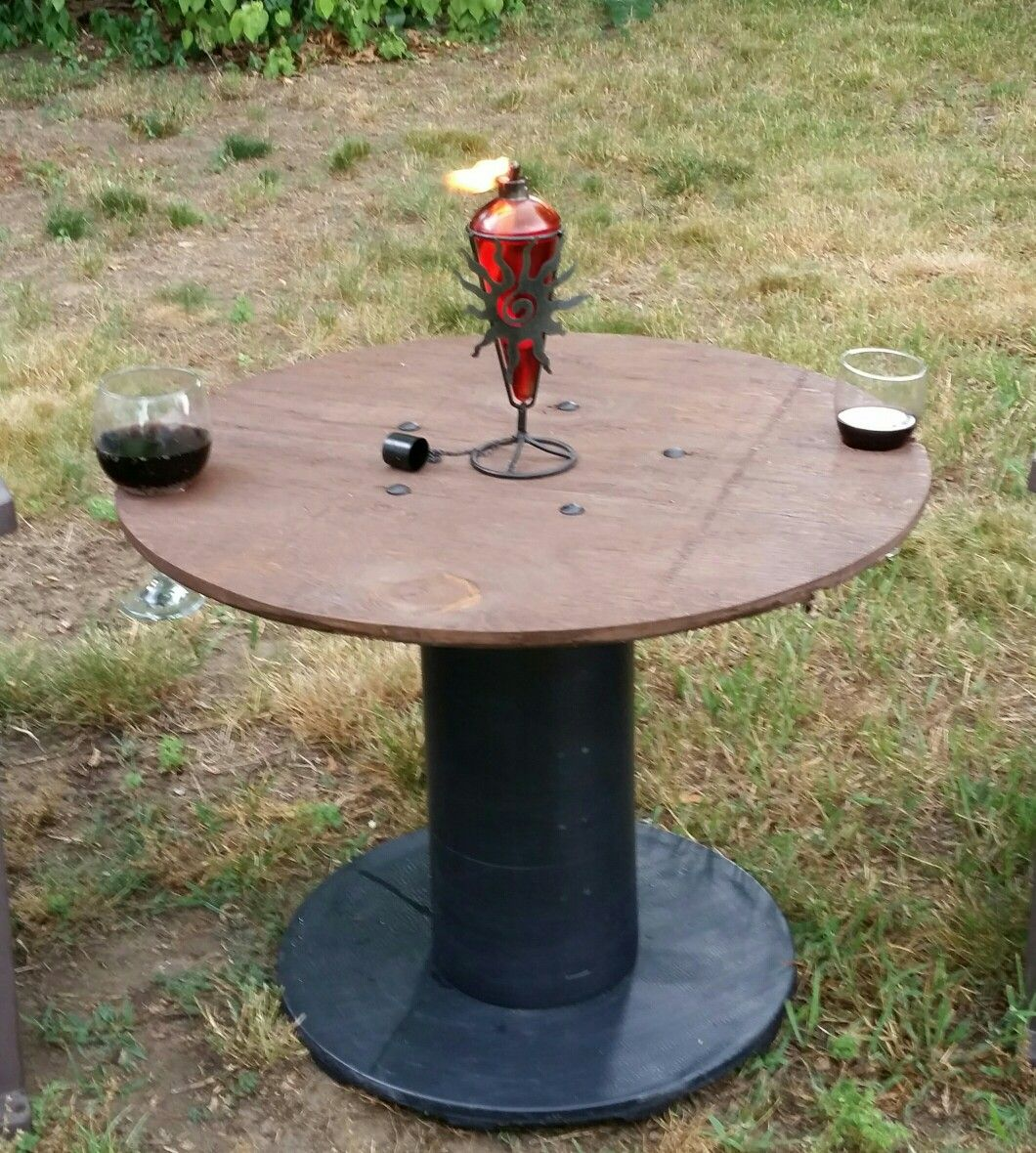 Small table made with a plastic wire spool, scrap plywood, carriage ...
