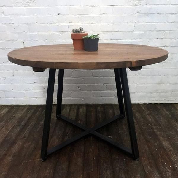 Kensington Industrial Reclaimed Wood Dining Table With Glass