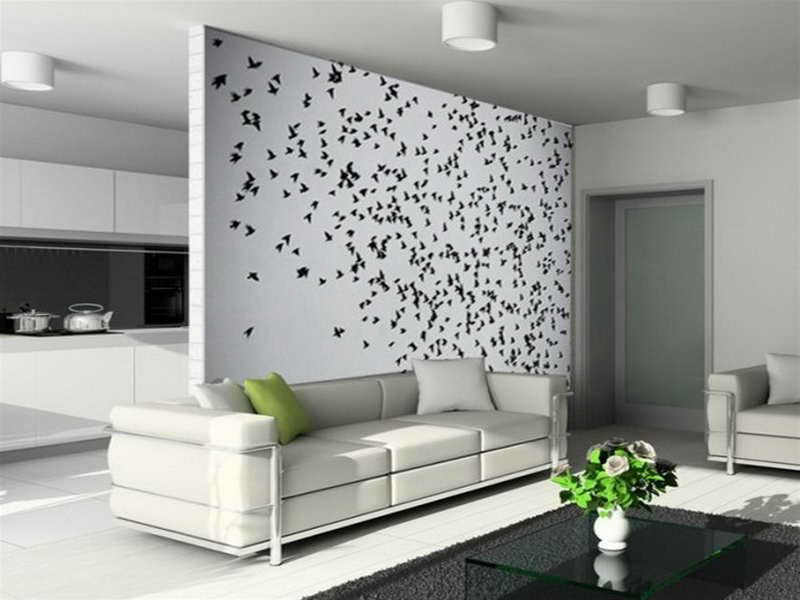 How To Decorate A Big Wall In The Living Room Part - 38: Idea To Decorate A Large White Living Room Wall