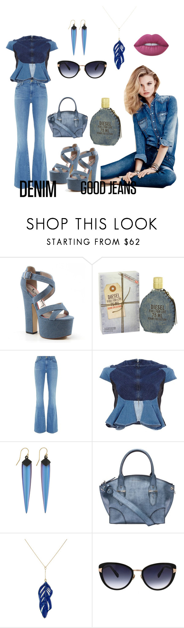 """denim"" by xiomara-ponce ❤ liked on Polyvore featuring Luichiny, Diesel, Frame Denim, Anrealage, Alexis Bittar, Alexander McQueen, Aurélie Bidermann, Oscar de la Renta, H&M and Lime Crime"