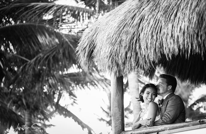Black and White bride and groom portraits at @princesshotels, Riviera Maya, Mexico. Jonathan Cossu Photographer
