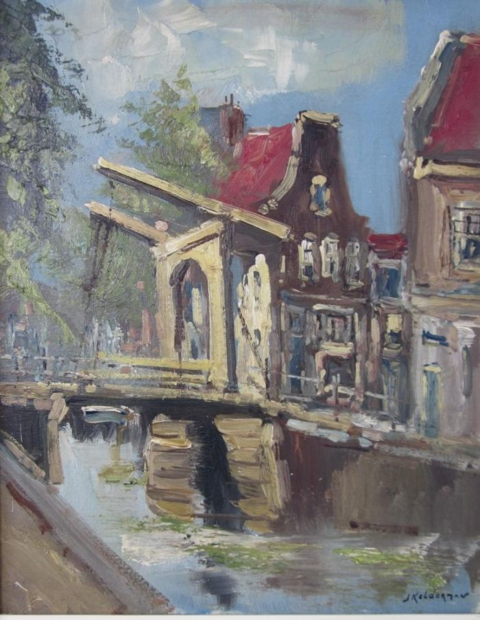 Jan Kelderman (1914-1990), Ophaalbrug aan de gracht, olieverf op doek,