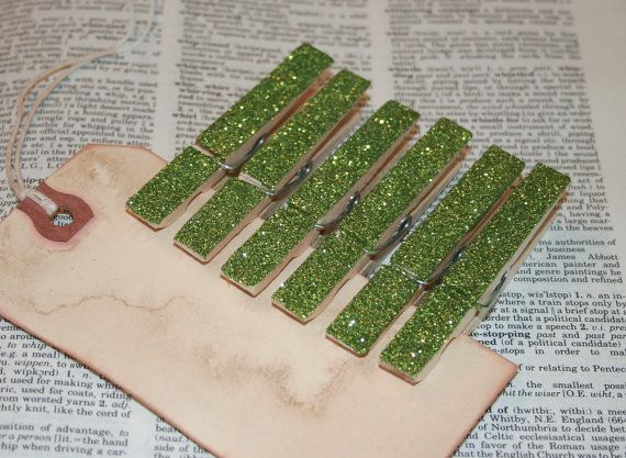 Shabby Chic Glittered Clothespins  Pesto by inspirationsbyfaith