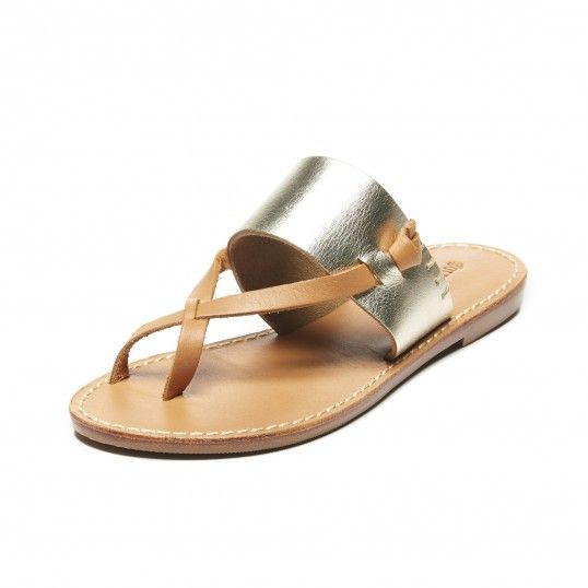 6d48c3c3b8d Metallic Leather Slotted Thong Sandal