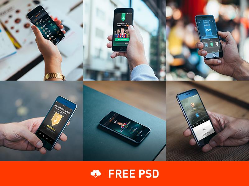 6 Photorealistic Iphone 6 Mockups Iphone Mockup Mockup Free Psd Free Iphone 6