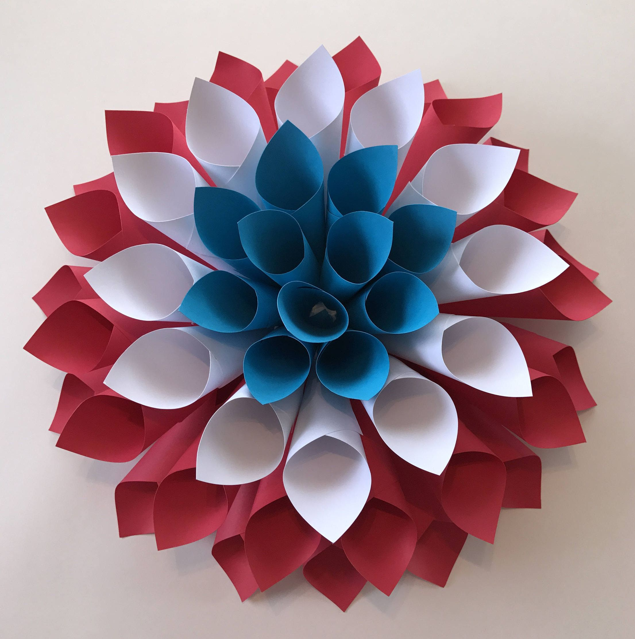 Large Patriotic Paper Flower Red White And Blue Dahlia Wall Art Independence Day Wreath Fourth Of July Decorations By 3TCustomDesigns On