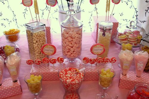 Baby Shower Lollipops · Red Yellow Candy Table | ... Sweet Peau201d Yellow And Pink  Candy Buffet