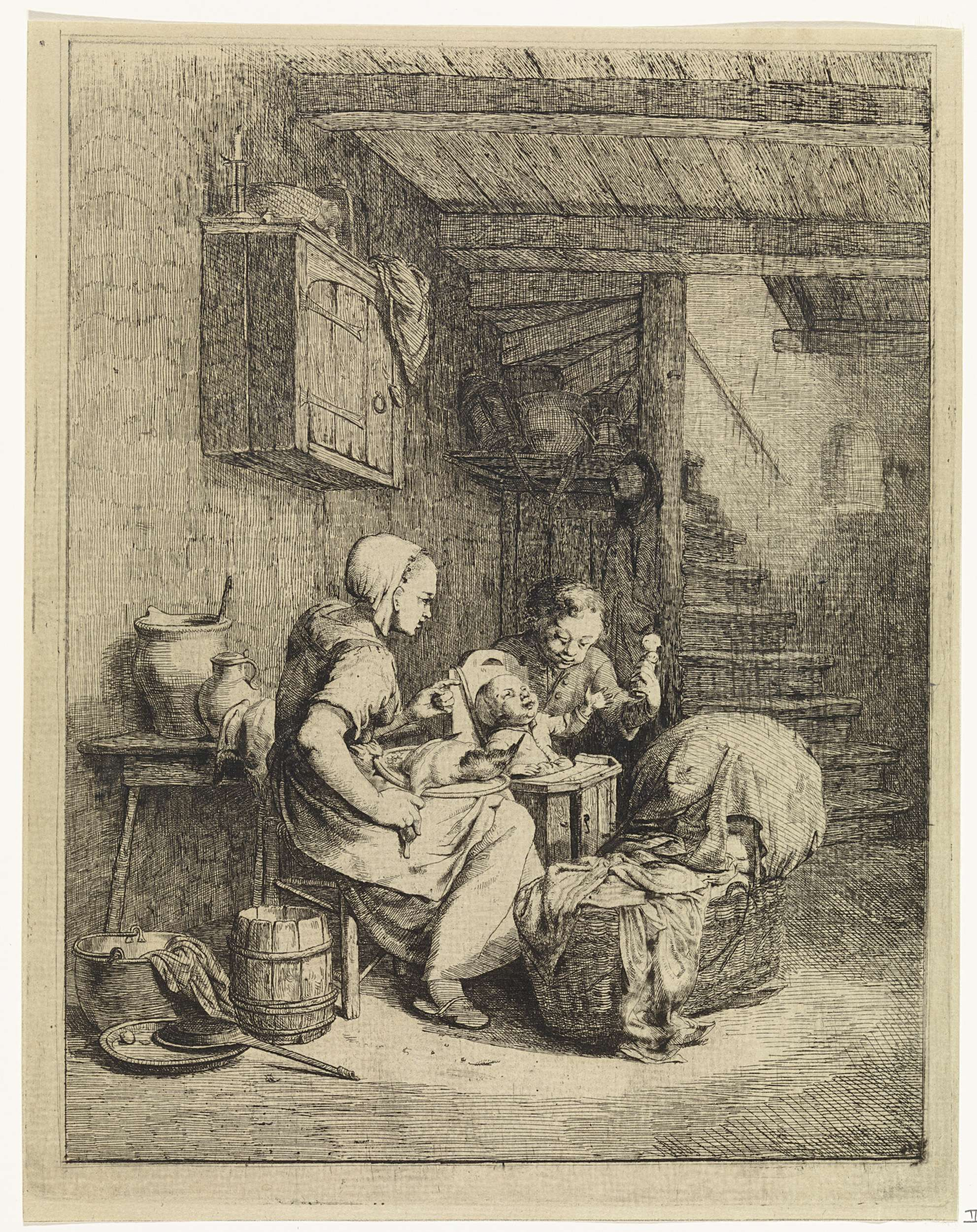 Johannes Huibert Prins | Vrouw en twee kinderen in interieur, Johannes Huibert Prins, 1767 - 1806 | In een sober interieur heft een vrouw met een te plukken eend op haar schoot haar vinger vermanend naar twee kinderen. Het jongste kind zit in een kinderstoel en reikt naar een rammelaar die het oudste kind vasthoudt. Voor hen staat een wieg op de grond. Achterin de kamer een houten trap, aan de muur een hangende kast.