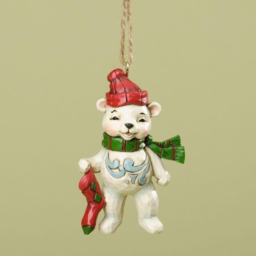 Home interior masterpiece figurines jim shore christmas polar bear hanging ornament new in box  jim