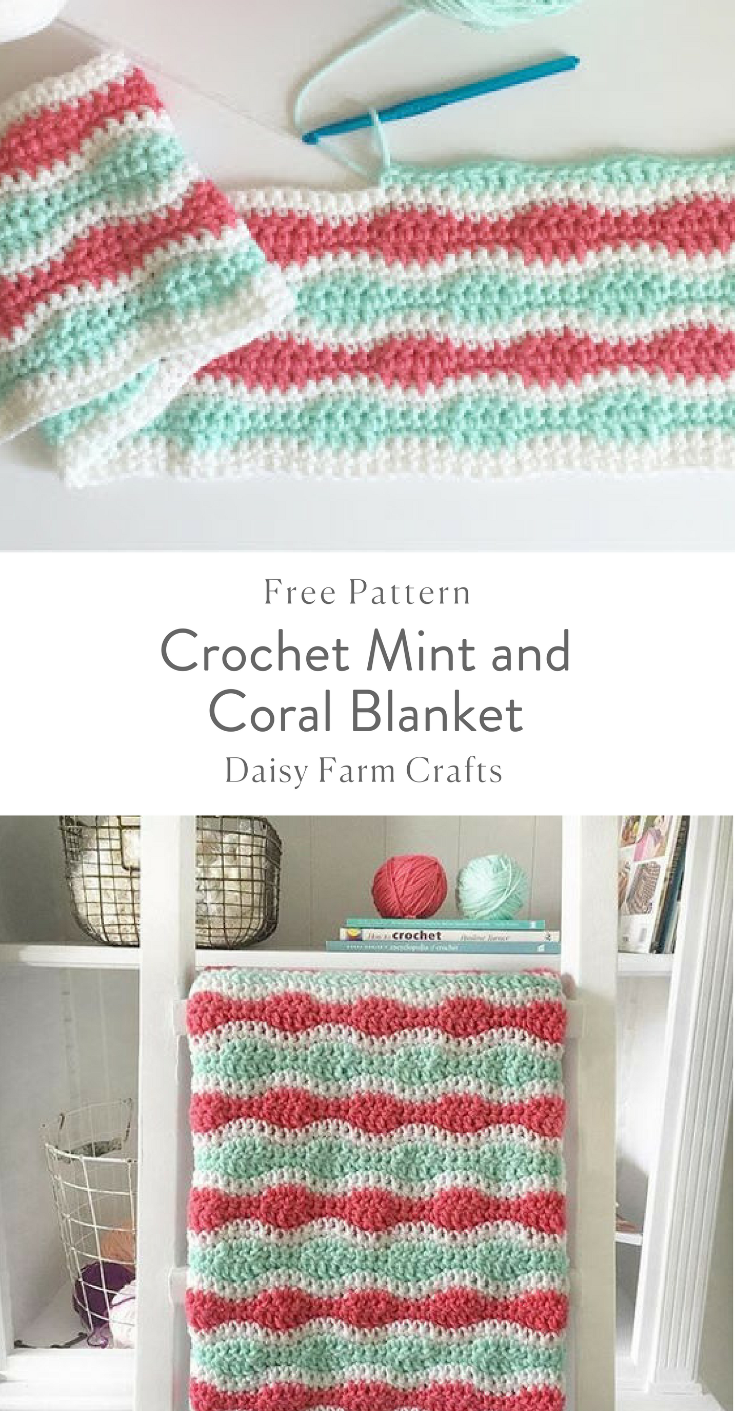 Crochet Mint and Coral Blanket - Free Pattern | Crochet ...