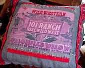 Western Cowboy Pillow Buffalo Bill Cody 101 Ranch Wild West Home Decor Pillow Original OOAK itsyourcountry