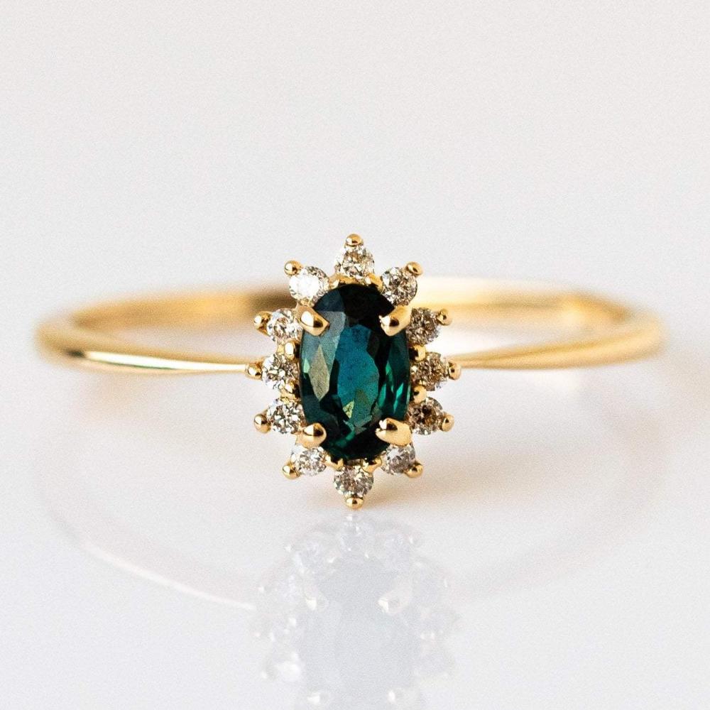 14kt Teal Sapphire & Diamond Fleurette Ring in 2020
