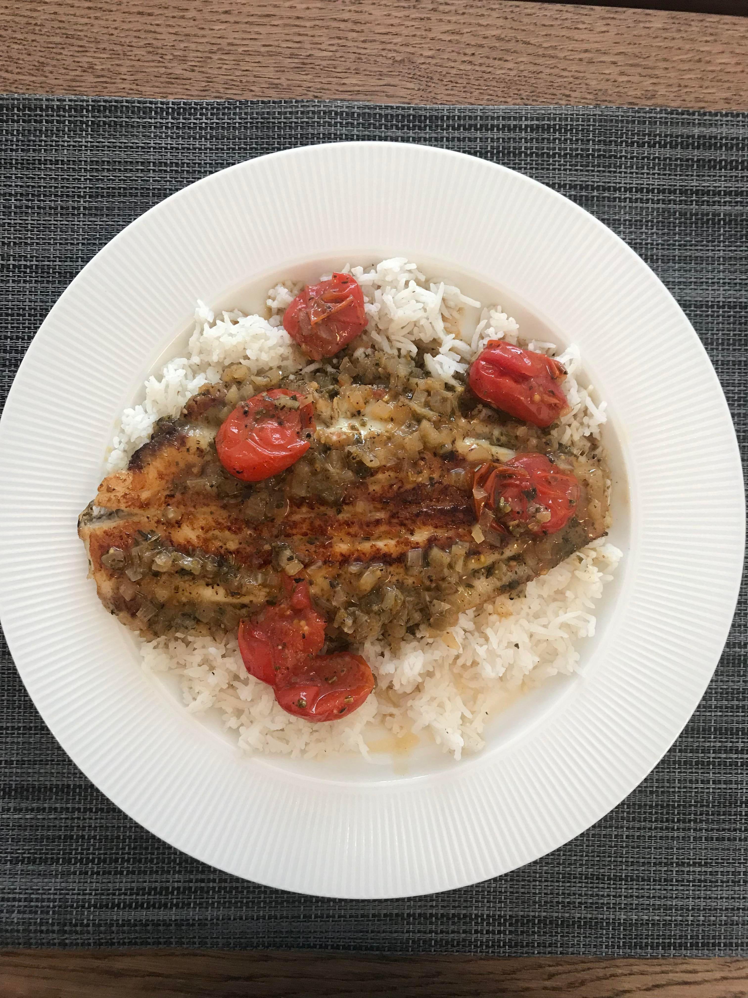 Photo of #basmati #Cherry #fish #lemon #pan #rice