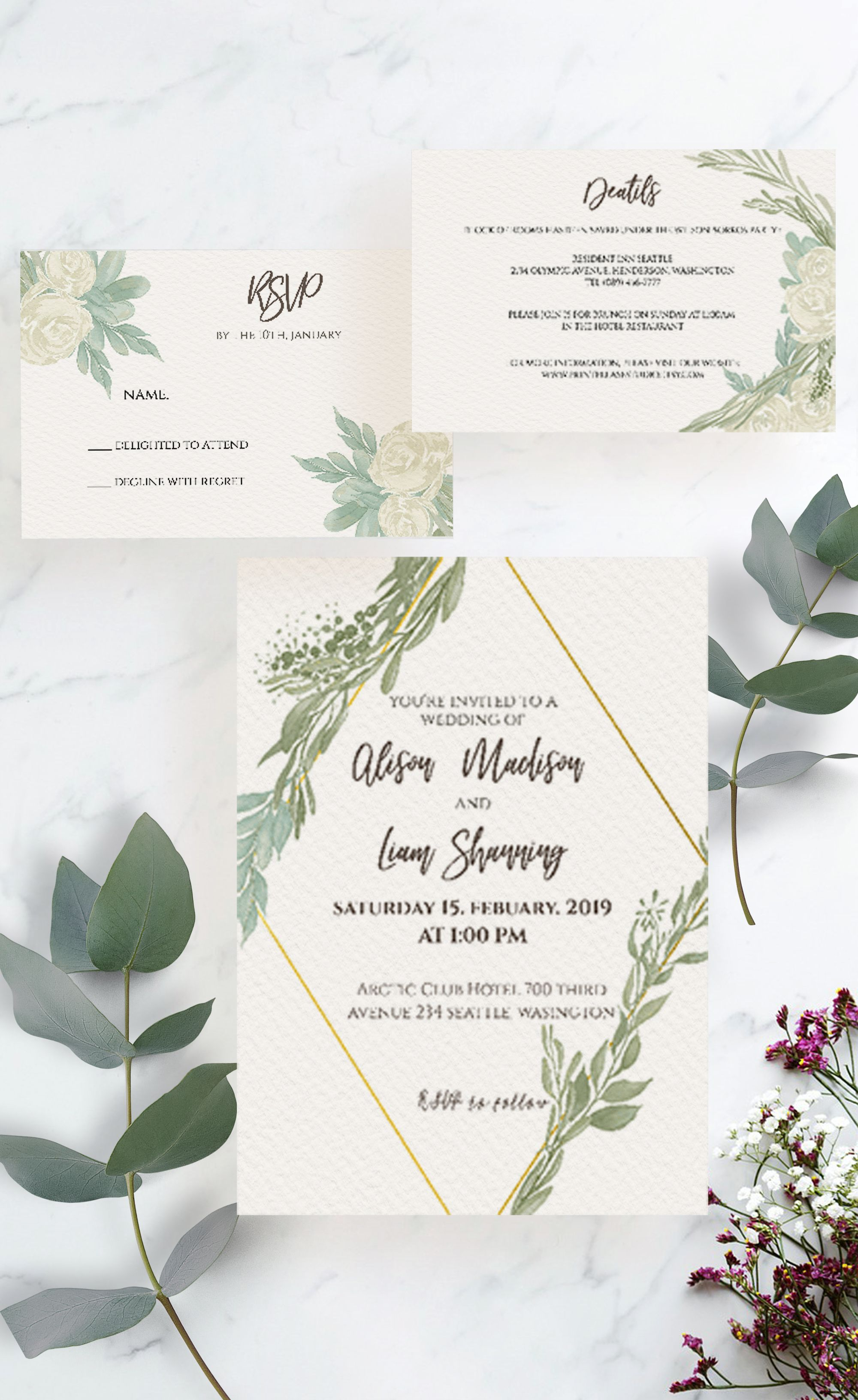 greenery wedding invitation, rustic wedding invitation