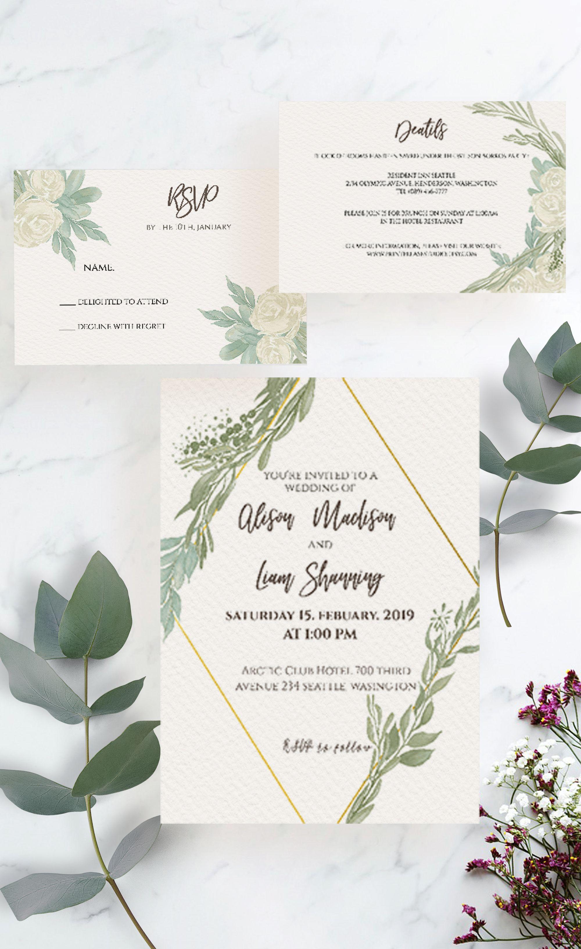 Greenery Wedding Invitation Rustic Wedding Invitation Etsy Rustic Wedding Invitation Set Wedding Invitation Templates Rustic Greenery Wedding Invitations