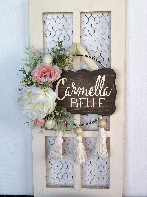 Baby girl door hanger floral nursery name sign pink