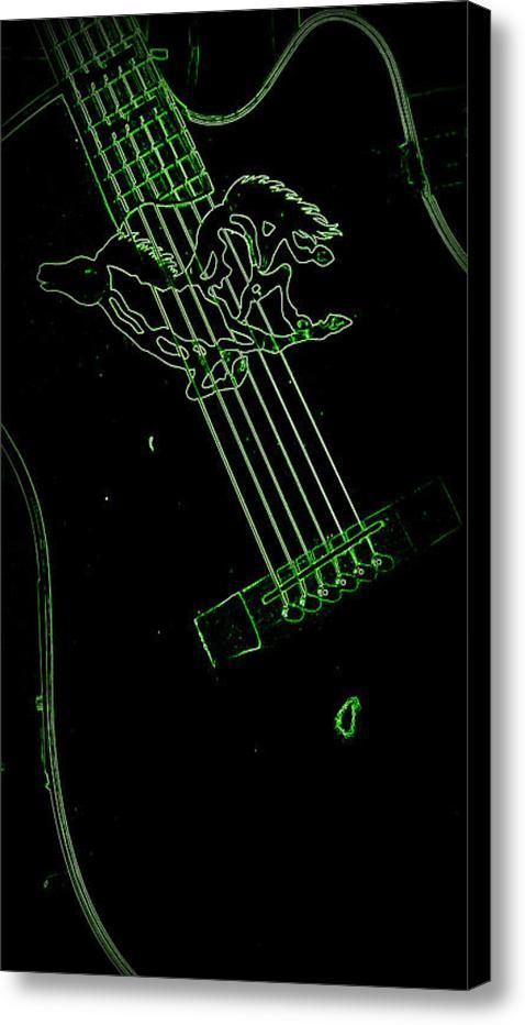 Neon Green Guitar Canvas Print / Canvas Art By Laurie Pike