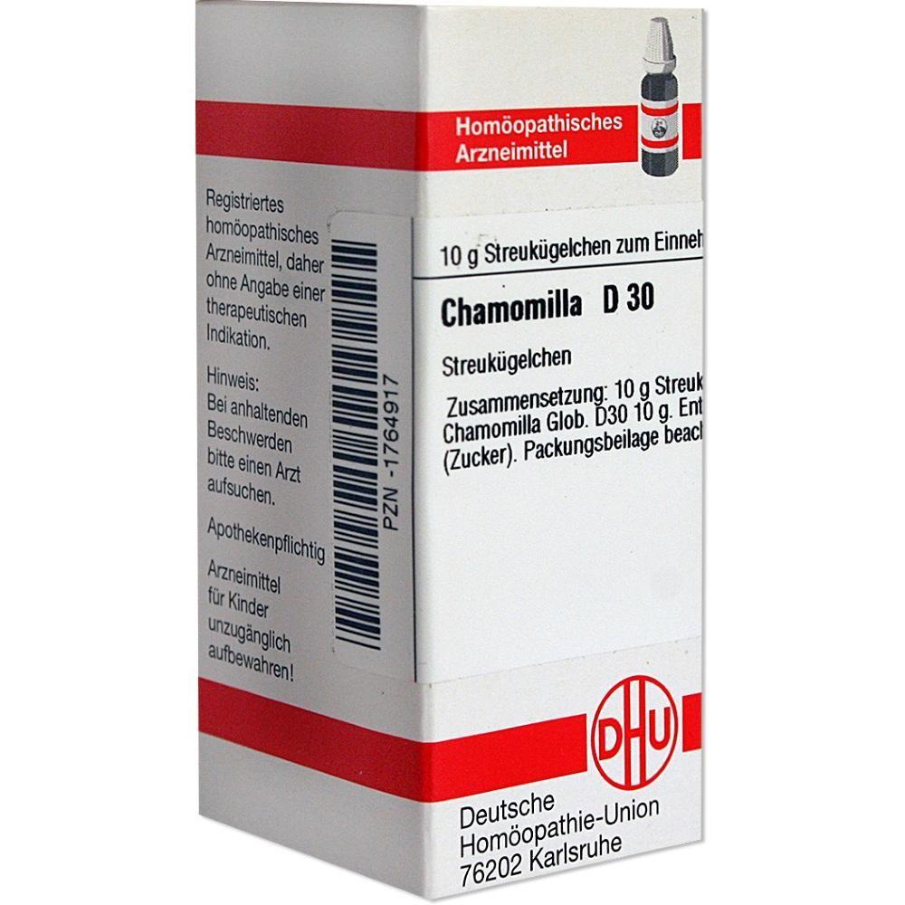 CHAMOMILLA D 30 Globuli:   Packungsinhalt: 10 g Globuli PZN: 01764917 Hersteller: DHU-Arzneimittel GmbH & Co. KG Preis: 5,19 EUR inkl. 19…