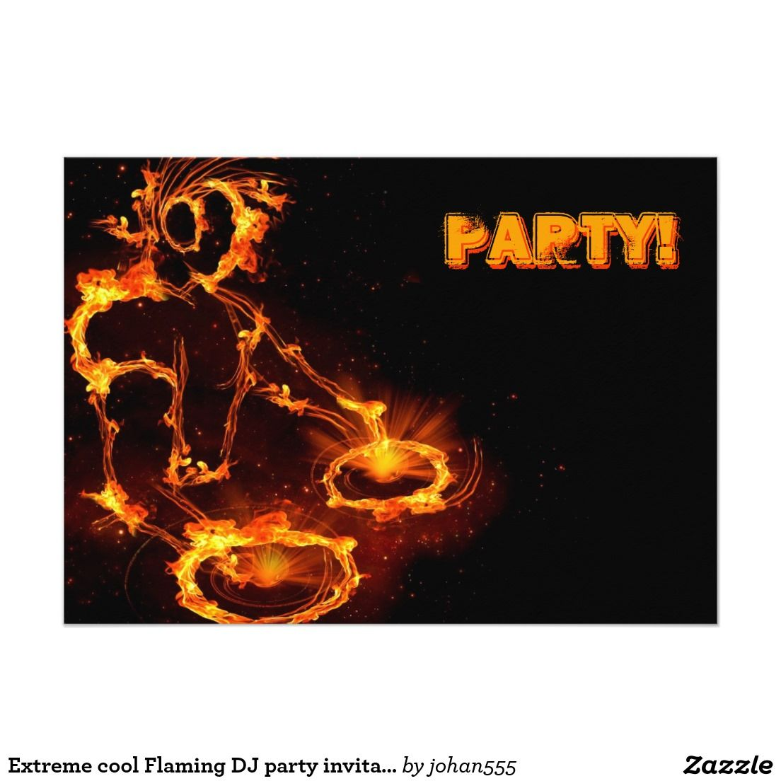 Extreme cool Flaming DJ party invitation. 5x7 Paper Invitation Card ...