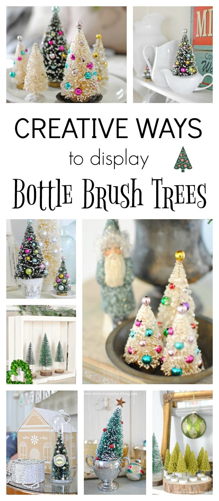 Bottle Brush Trees Creative Ways To Display Town Country Living Bottle Brush Christmas Trees Bottle Brush Trees Mini Christmas Tree