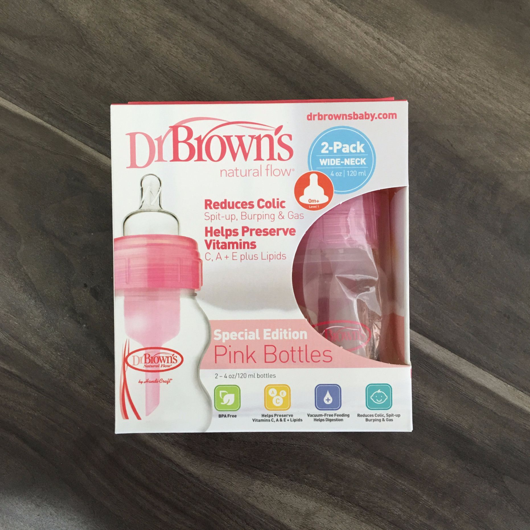 Dr browns natural flow special edition pink bottle baby