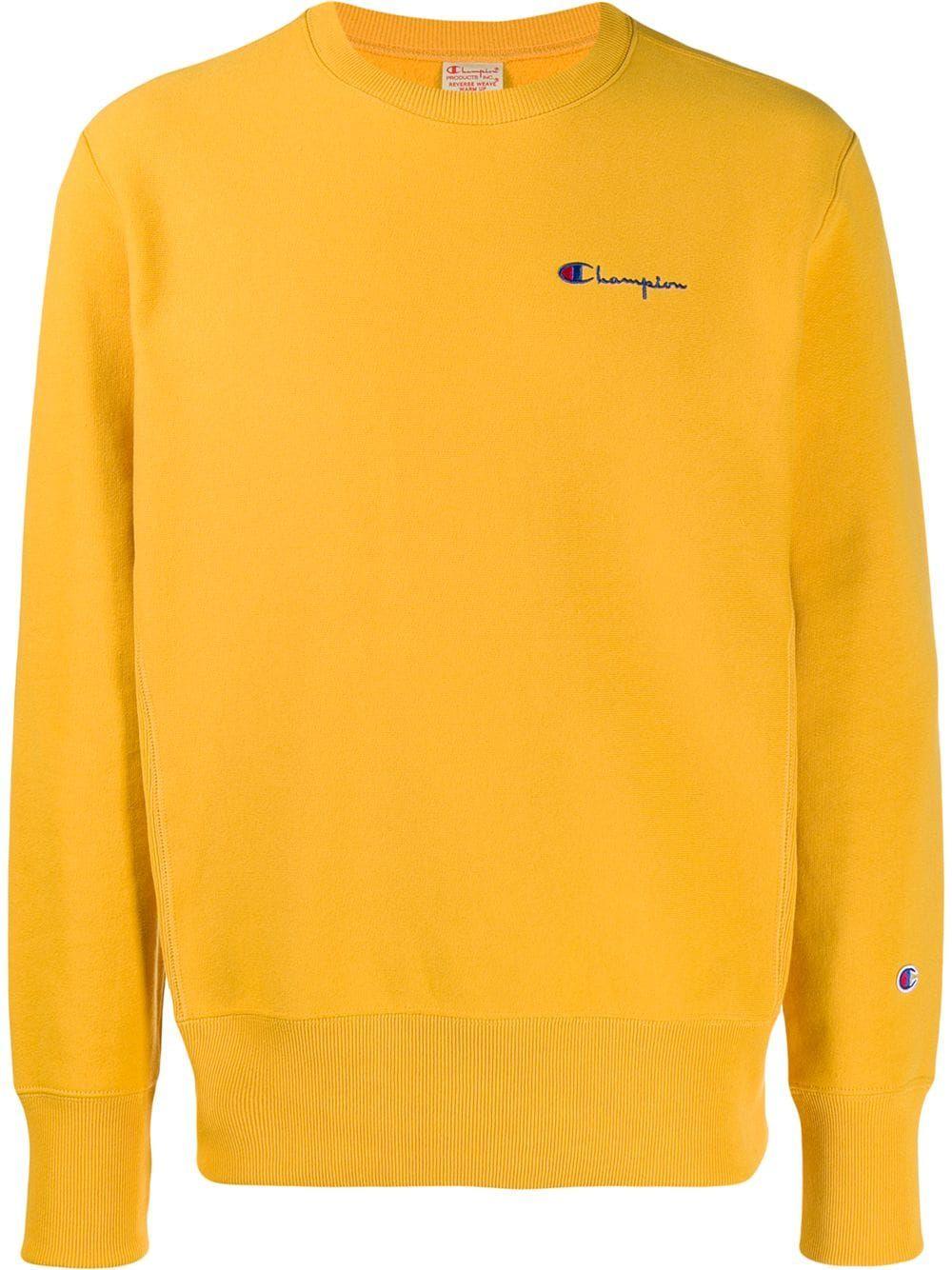 Champion Embroidered Logo Sweatshirt Farfetch Sweatshirts Yellow Champion Sweatshirt Eyes Sweatshirt [ 1334 x 1000 Pixel ]