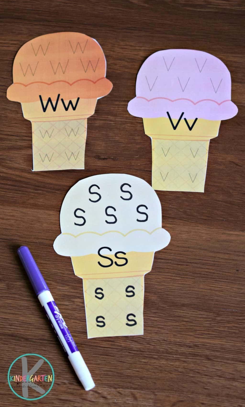 Ice Cream Cone Alphabet Tracing