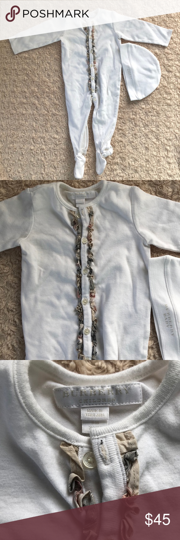 7c0d7ed9ad4 Burberry Baby Footed One Piece Set