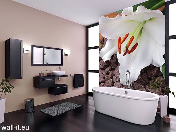 Fototapete auf einer Fläche setzen, beim Rest Paneele oder - fototapete für badezimmer