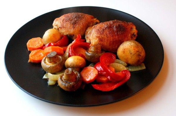 Kurczak z warzywami pieczony w piwie