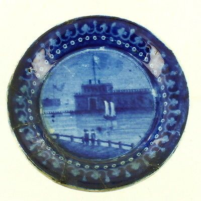 ANTIQUE-BLUE-HISTORICAL-STAFFORDSHIRE-CUP-PLATE-ENOCH-WOOD-CASTLE-GARDEN-NY
