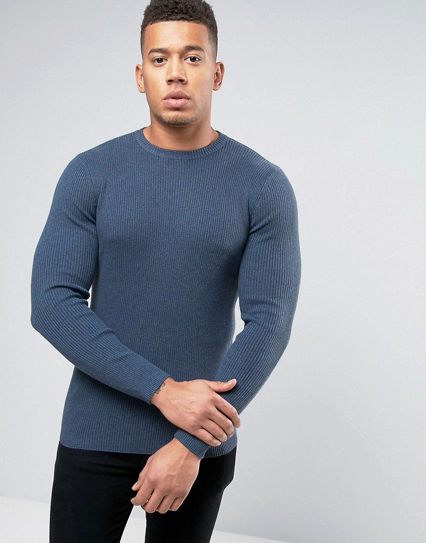 New Look Ribbed Muscle Fit Sweater With Crew Neck In Blue