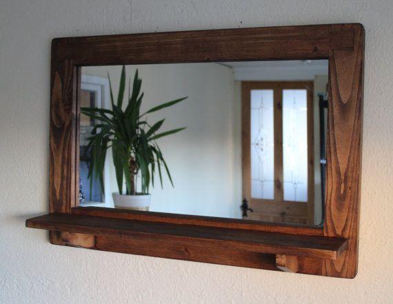 Large Mirror With Shelf Dark Wood Mirror Frame Shelf Real Etsy