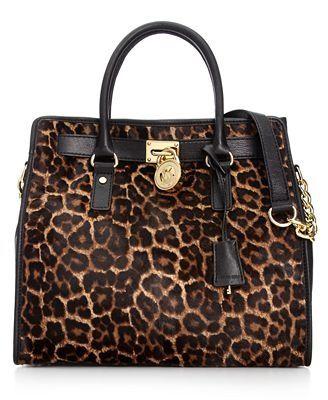Michael Kors Handbag Hamilton Leopard Haircalf Large North South Tote Yum