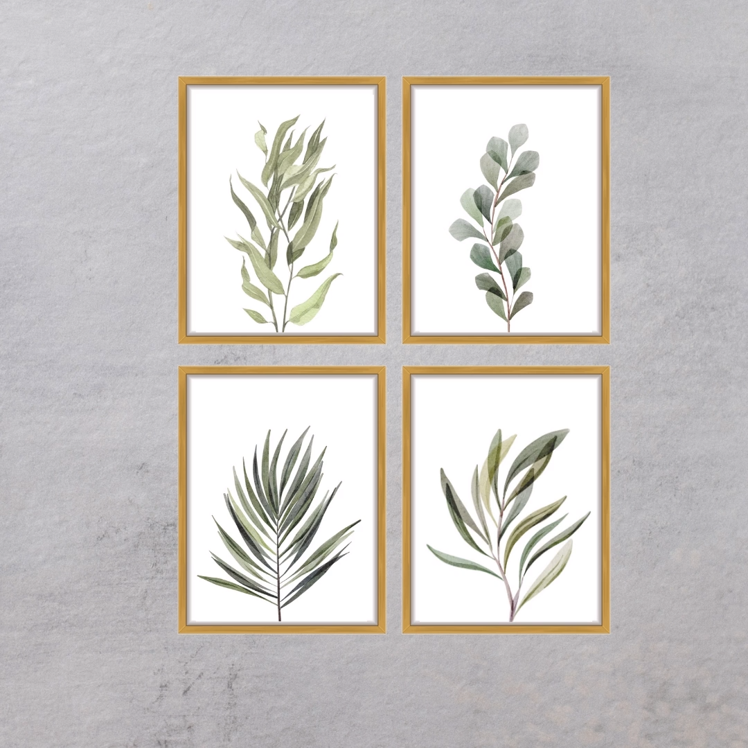 Photo of Botanical Wall Art,Gallery Wall Set,Watercolor Print,Tropical Leaf Print,Botanical prints,Plant Wall Decor,Set Of 4 Prints,Plant Poster