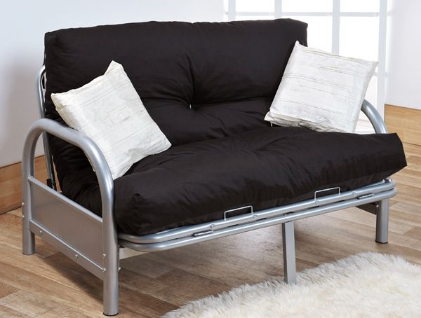 Modern Two Seater Silver Metal Futon Sofa Bed