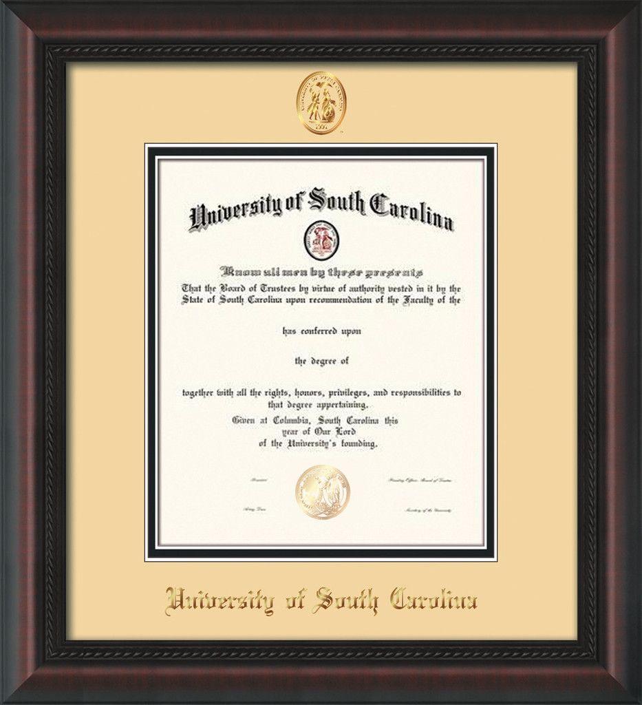 U of South Carolina Diploma Frame-Mahog Braid-w/USC Seal-Cream/Black ...