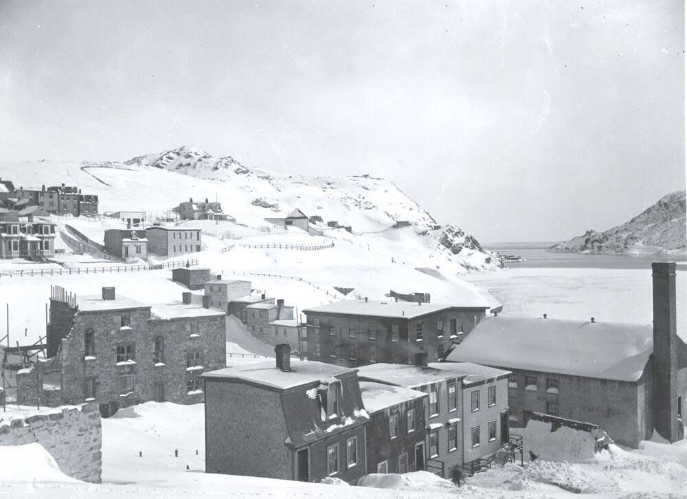Temperance Street and Battery Road, winter.