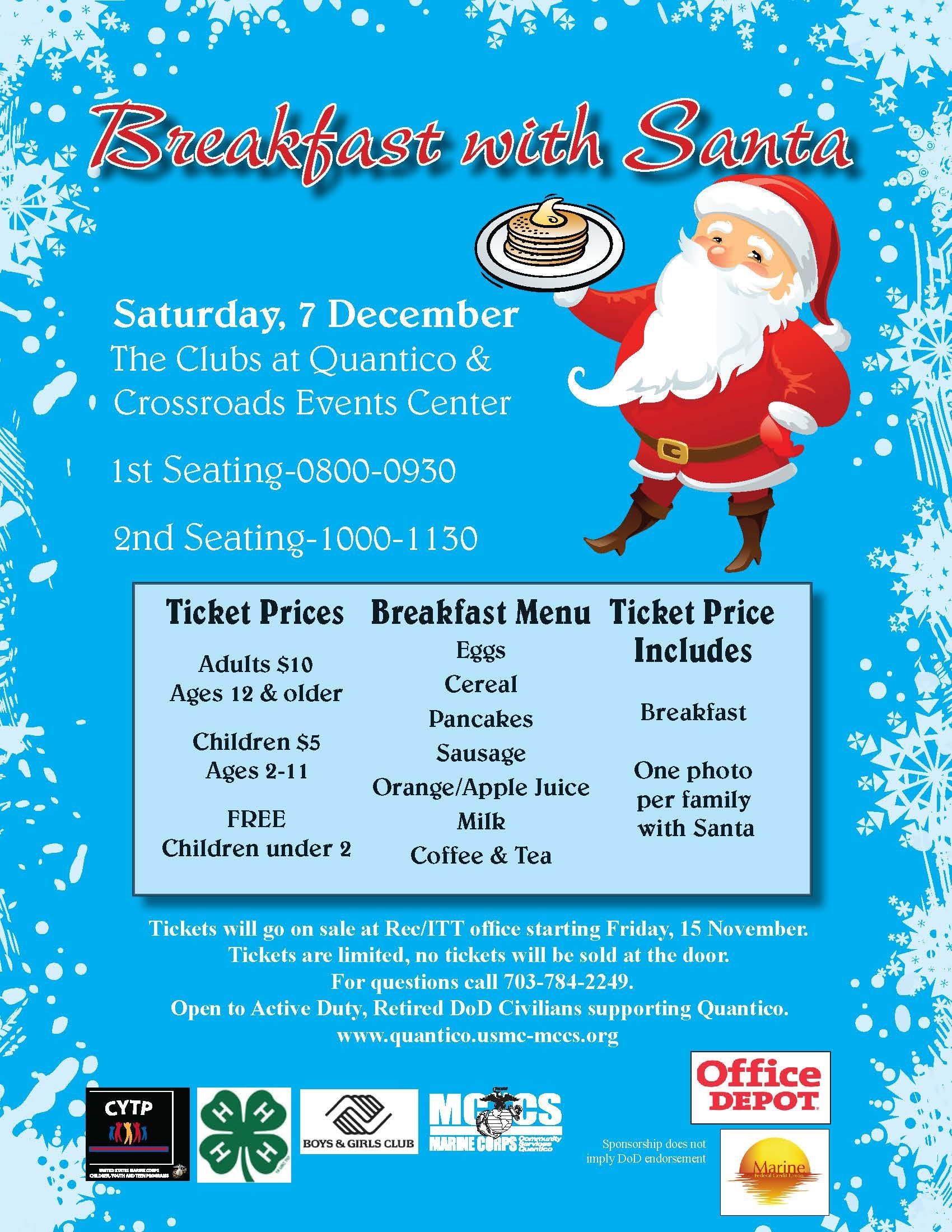 itt quantico Breakfast with Santa is Saturday, 7 December at The Clubs at ...