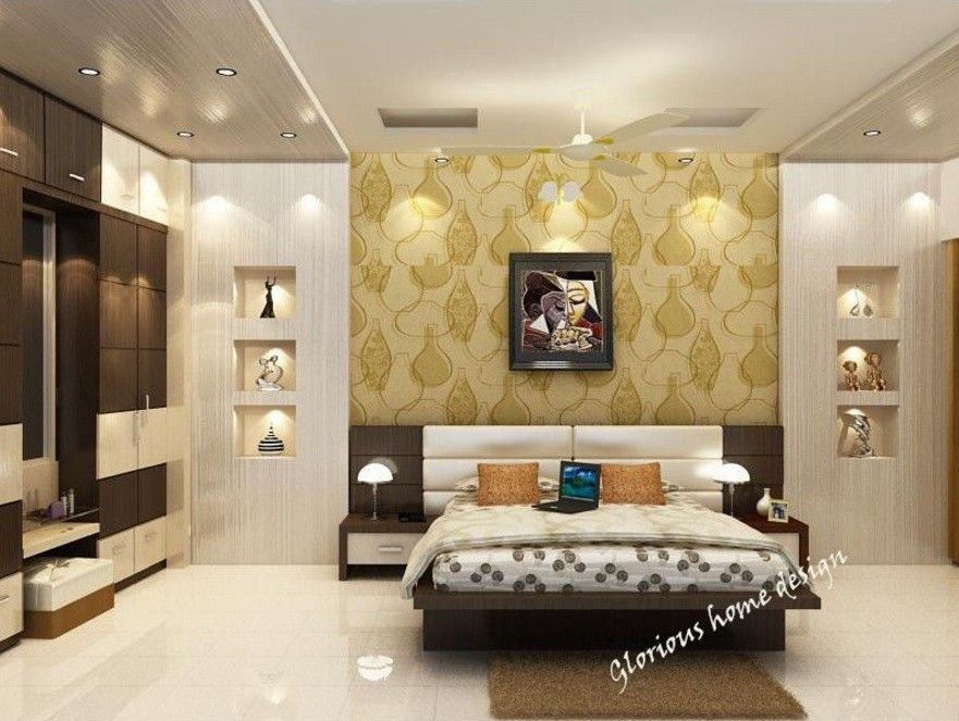 Bed Room Furnished With Wooden Bed And Back Rest With Leather Finish Gadi Work The Back Side