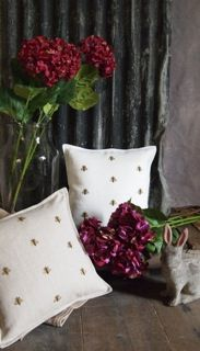 Hand embroidered Bees in antiqued gold metallic threads, pure Belgian linen.