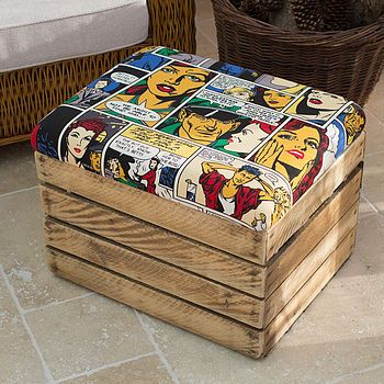 Amazing Comic Strip Wooden Crate Storage Box Seat