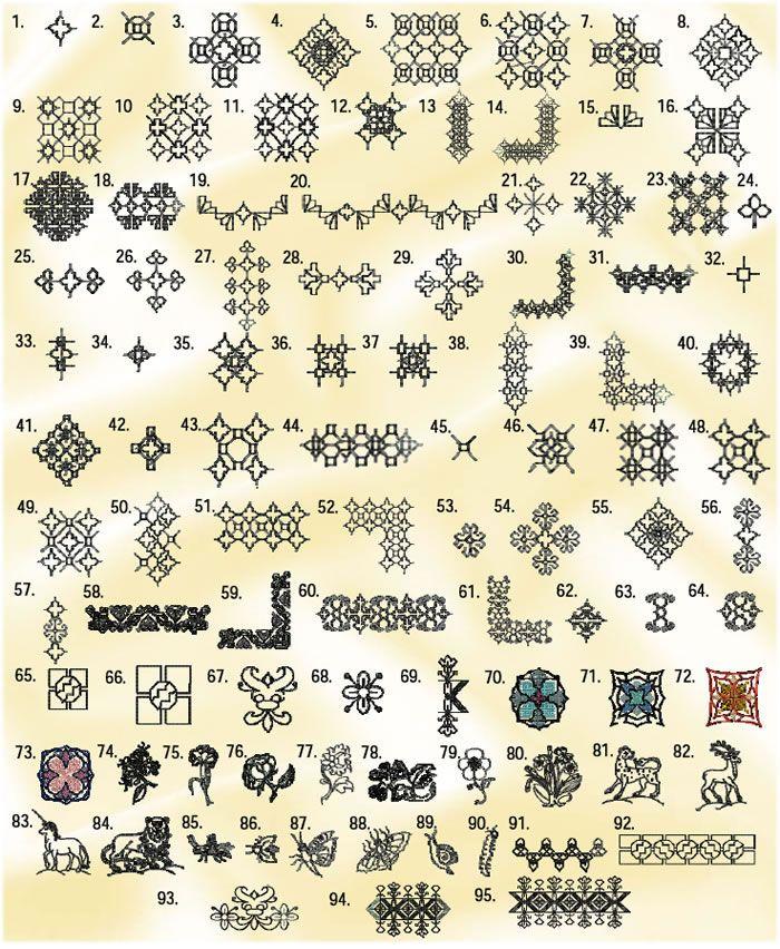 Blackwork Embroidery samples
